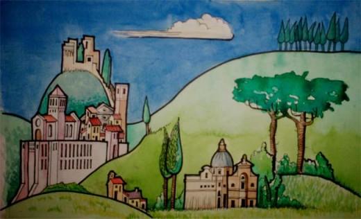 Assisi snuggling into Mount Subassio