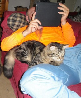 Another photo of Brian, hanging out with Sebastian. What guy wouldn't want a cool cat to just hang out with him on the couch?