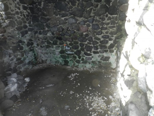 This photo shows the floor of the inside of the tower at Cagsawa ruins where the people standing here in 1814 were the first disintegrated by the lava flow from Mayon.