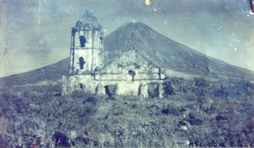 An old photograph of the Cagsawa, or Cagsaua as it was known back then, before the destructive force of Mayon reached the site.