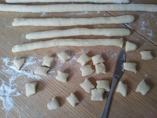 Gnocchi ropes, with a few already cut.  You can leave them here, or go ahead and shape them.