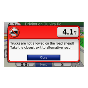 Truck Road warning screen