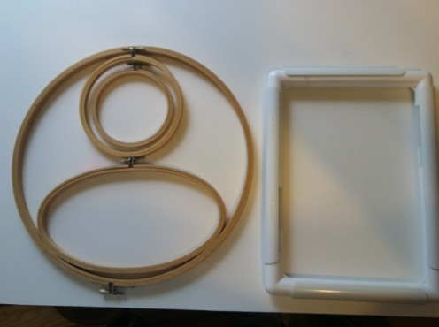 Round and Oval Hoops (left), Q-Snap stitching frame (Right)