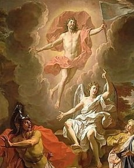 Resurrection of Christ by Noel Coypel, 1700, using a hovering depiction of Jesus.