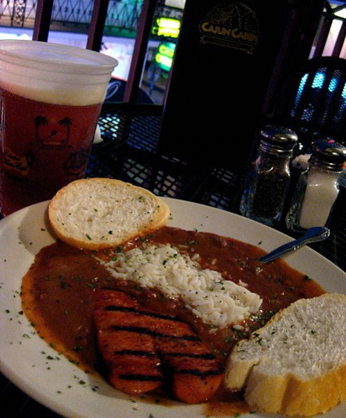A Traditional New Orleans dish: Chicken and Andouille sausage simmered in a Creole sauce and folded with white rice.