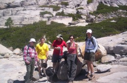 Gurr, his hiking buddy Larry (left), and others on the Enchanted Pools loop hike in the mountains West of Lake Tahoe.