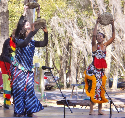 "Gullah dancers using sweetgrass baskets as props while performing at the 2012 ""A Taste of Gullah Food & Entertainment"" festival on Hilton Head Island."