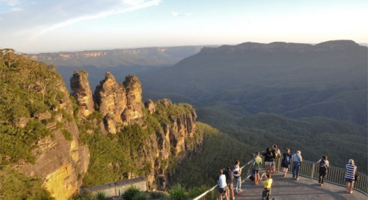 End of another day at the Blue Mountains. To the left the three sisters rock formations, a popular feature with tourists