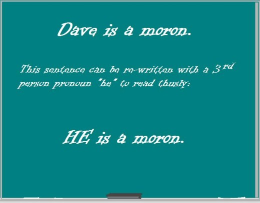 "The pronoun ""he"" replaces the proper noun ""Dave."""
