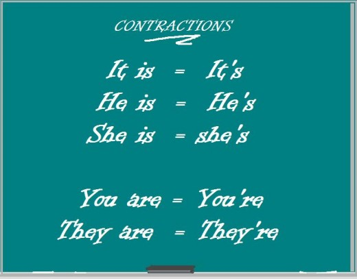 Contractions are not just about babies; they're about TWO words and missing letters (vowels usually).