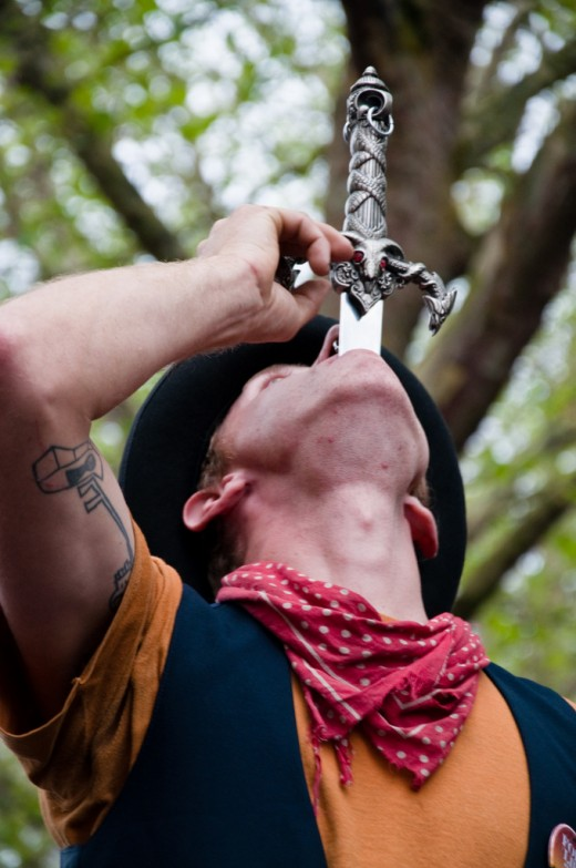 It takes years of practice to learn the art of sword swallowing!