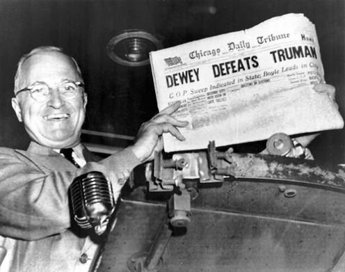 Famously incorrect headline of Nov. 3, 1948 -- Chicago Daily Tribune