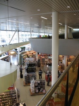 Amsterdam Airport Schiphol looking down on First Level Shops