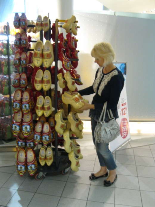 Amsterdam Airport Schiphol - souvineer wooden shoes for sale
