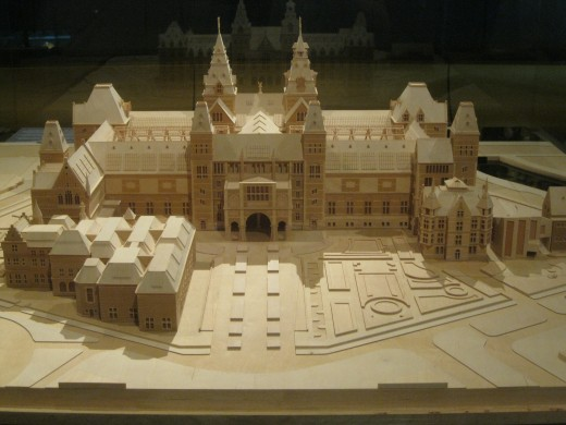 Amsterdam Airport Schiphol - One of the displays in museum is model of new Rijksmuseum in Amsterdam