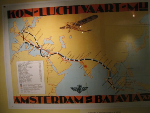 Amsterdam Airport Schiphol - 1932 KLM poster showing cities served from Amsterdam to Batavia in the Dutch East Indies (now Indonesia)
