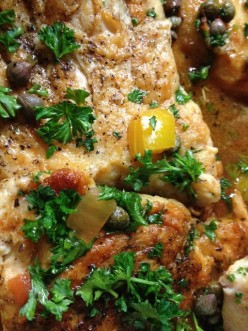 Chicken and Peppers - Chicken with Peppers, Onions, Garlic and Capers. AKA Chicken Aphrodite