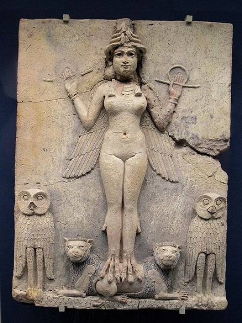 The 'Queen of the Night' Relief, The figure could be an aspect of the goddess Ishtar, Mesopotamian goddess of sexual love and war.