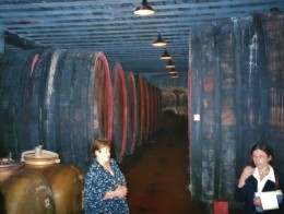 Family ownership at the time of my husband's visit was at five generations.  The grandmother proudly showed their large Slovenian Oak barrels in this photo.