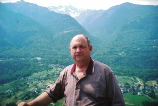 Photo of my hubby from Bettini winery.  Look at that fabulous Valtellina landscape!