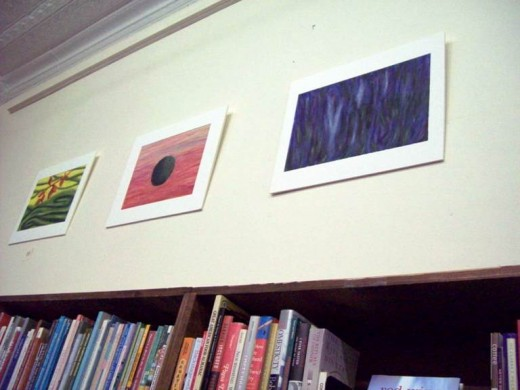"Reese: ""Black Hole: Summer"" and ""Ghost Trees"" - oil on paper, 2011."