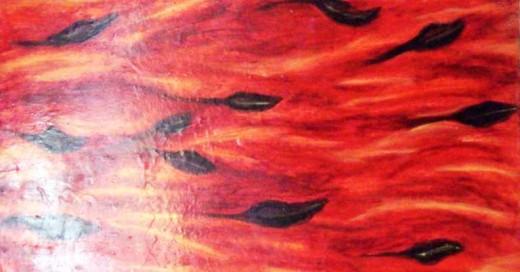 """Reese: """"Falling Leaves"""" - oil on wood, encaustic, 2011."""