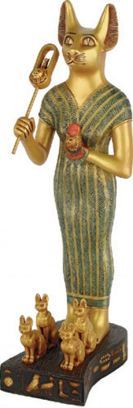 Bastet, an Egyptian goddess, holds a sistrum (Click to enlarge)