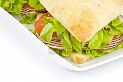 Foccasia Sandwich- With Leafy Vegetable, Tomato and Ham