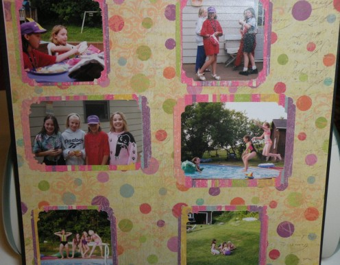 Adhere photos to background cardstock