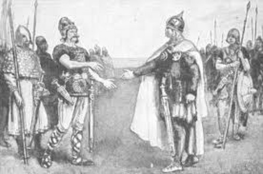 Eadmund and Knut agreed to a truce and sharing the throne at Alney near Deerhurst in October, 1016. Eadmund died soon after, of wounds suffered at Ashingdon earlier in the year.