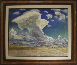 """Painting by Mexican Artist Gerardo Murillo, Dr. Atl, called """"Cloud"""" (c1939). Museo Soumaya founded by Carlos Slim Helu. Mexico City."""