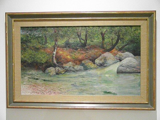 """Landscape with Forest and River"" by Joaquín Clausell (first 3rd of the XX century). Sample of Mexican Impressionism. Museo Soumaya, founded by the richest man in the world, Mexican businessman and philanthropist Carlos Slim Helu."