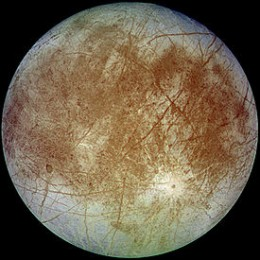 This is Europa. Yes, there could be oceans underneath the ice. No, I don't recommend eating the snow.