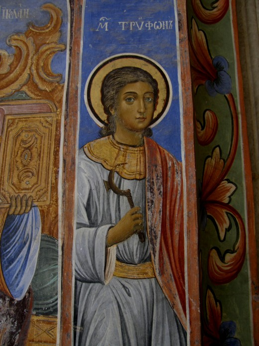 Saint Trifon icon in the Rila monastery.