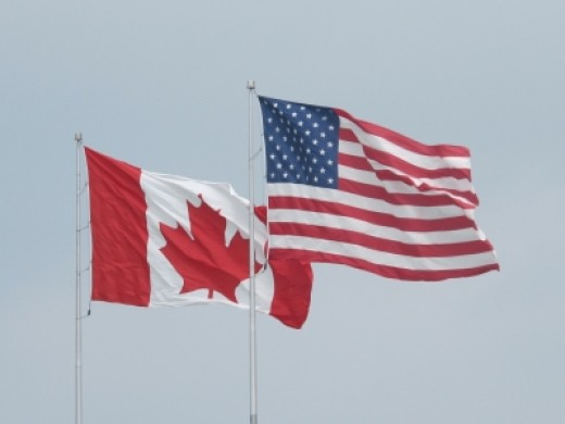 Flags for Canada and The United States of America