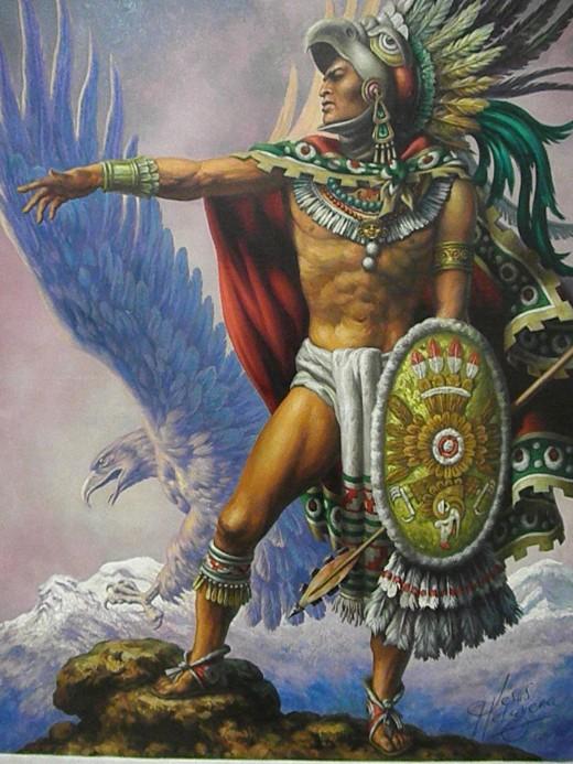 Cuauhtémoc [Eagle Knight] by Jesús de la Helguera. Muralist's Art Collection of the richest man in the world: Carlos Slim Helu. Museo Soumaya, Mexico City.