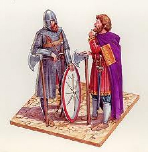 Varangian guardsmen, one in full battle gear - either one or both could be an English exile. Many fought against the Normans in the south under the generalship of Emperor Alexios Komnenos in the late 1070's-1080's until the mid-12th Century