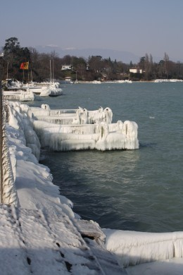 Nature ice Sculpture, Versoix Lake Prominade, Lake Geneva, Switzerland