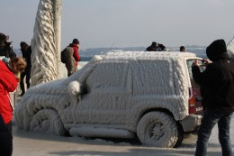 Jeep Covered With Ice, Versoix Lake Prominade, Lake Geneva, Switzerland