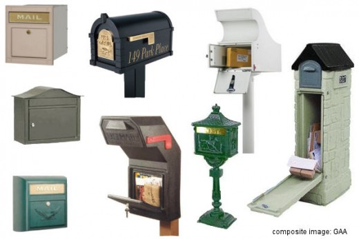 Styles of lockable mailboxes *See composite component image citation