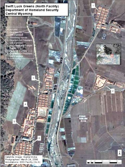 """One alleged photo of the """"Swift Luck Greens"""" internment facility, actually a forced labor camp in North Korea."""
