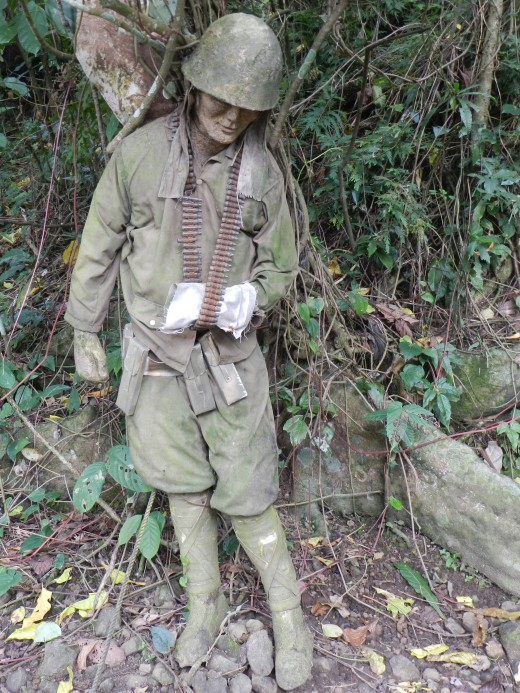 A manikin representing a wartime Japanese soldier give reminder of what Lignon hill was and still is, a historical landmark worth a visit.