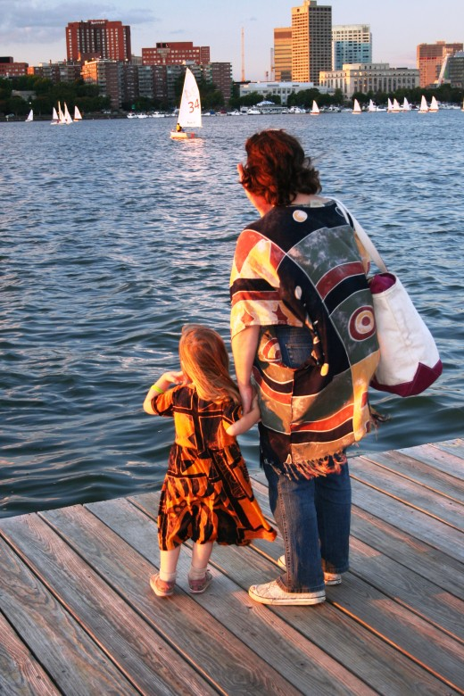 Author and daughter on a pier in Boston
