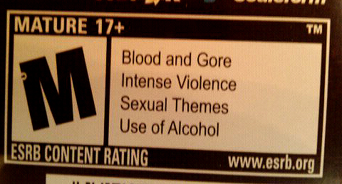 The ESRB rating for one of my M-rated games, Skyrim.