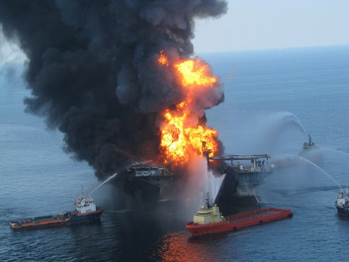 Oil spilling into Gulf of Mexico; 2010.