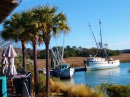 View from outside deck of The Crazy Crab restaurant which is adjacent to the welcome center.