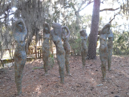 Wood Nymph Sculptures adjacent to the Osprey Outlook Boardwalk.