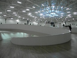 A beautiful collection of sculptures is displayed in the Salon Paris of the Soumaya Museum, Carlos Slim Foundation, in Mexico City. This photograph also exemplifies the museum modern design and structure.
