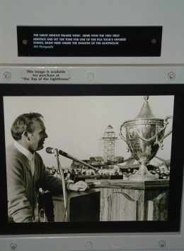 Photo display of Arnold Palmer who won the first Heritage PGA Golf Tournament at Harbour Town Links.