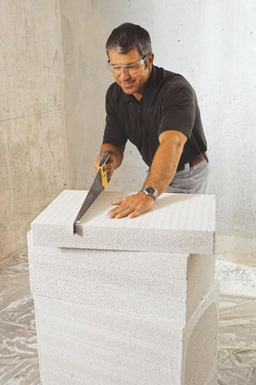 cutting some hefty internal insulation board!